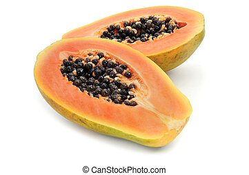 papaya - a halved papaya on a white background