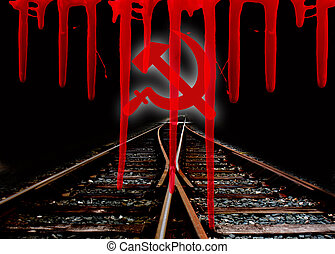 hammer and sickle - A hammer and sickle with a railway and...