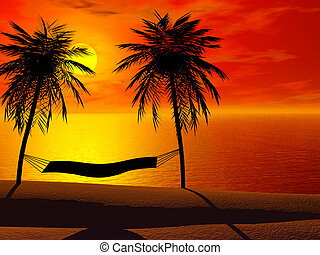 A hammock in sunset - Silhoutte of a hammock between two...