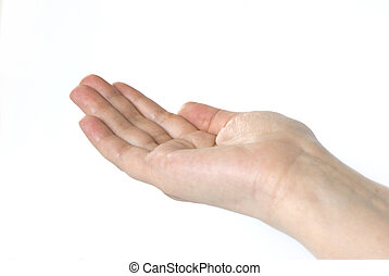 hand - A hand begging alms on a white background