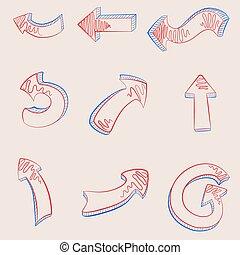A hand drawn arrows set.