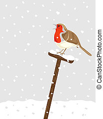 a hand drawn illustration of a robin sitting on a spade handle with snow falling in the background