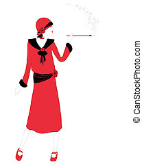 a hand drawn illustration of a woman in twenties fashion smoking a cigarette on a white background