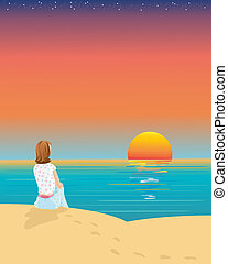 watching the sunset - a hand drawn illustration of a woman ...