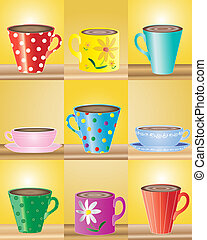 a hand drawn illustration of mugs and cups in various shapes and colors on a yellow background
