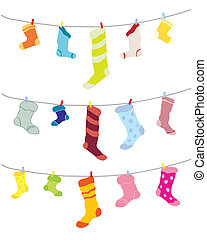 a hand drawn illustration of odd socks hanging on a washing line in different colors