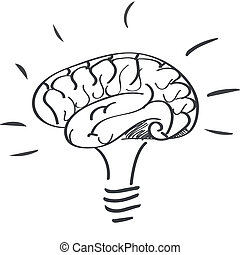 lightbulb - a hand-drawn lightbulb with a drawn brain inside...