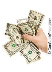 a hand full of us dollars