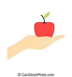 A hand giving a red apple flat icon