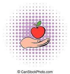 A hand giving a red apple icon, comics style