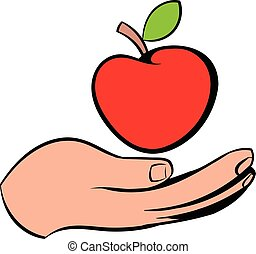 A hand giving a red apple icon, icon cartoon