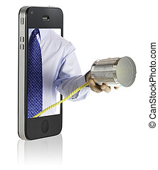 a hand giving a tin can phone