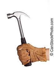 A hand holding a hammer