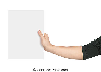a hand holding a piece of paper on an isolated white background