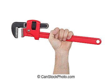 A hand holding a wrench.