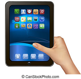 A hand holding digital tablet computer with icons. Vector...