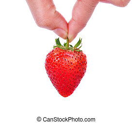 hand holding red strawberry isolated on white