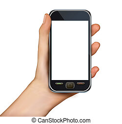 A hand holding smartphone