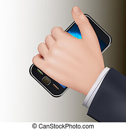A hand holding touchscreen mobile phone