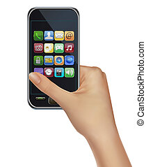 A hand holding touchscreen mobile phone with icons. Vector.