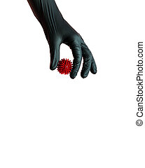 A hand in a protective black glove holds a model of the covid-19 virus . Isolated on a white background.