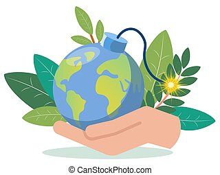 A hand is holding a planet earth imitation bomb. In minimalist style. Flat isometric vector