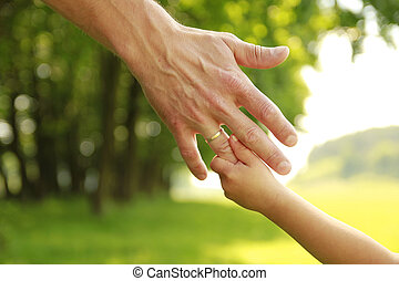 hand of parent and child in nature - a hand of parent and ...