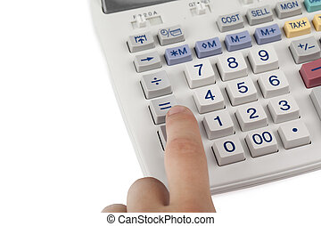 a hand on the calculator pad