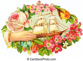a hand reaching out to a sailboat surrounded by flowers