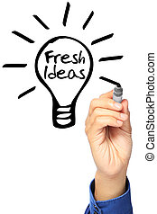 Fresh Ideas - A hand sketching a light bulb and indicating ...