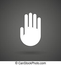 a hand    white icon on a dark  background