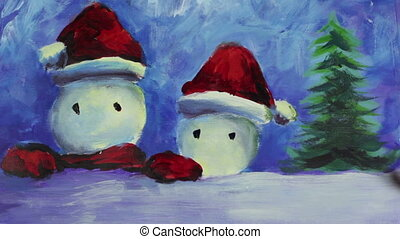 A hand with a brush paints the eyes and smiles of merry Christmas snowmen