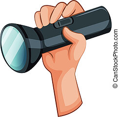 Illustration of a hand with a flashlight on a white background