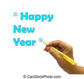 A hand writing the words Happy New Year.