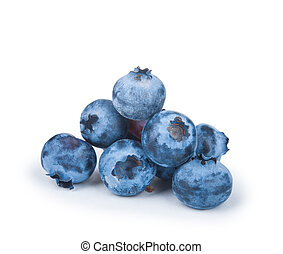a handful of blueberries isolated on white background