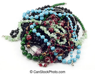 a handful of colored beads