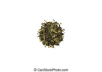 A handful of green tea on a white background. Isolated.