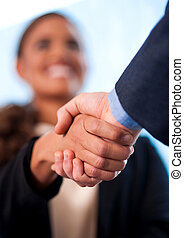 A handshake between business people