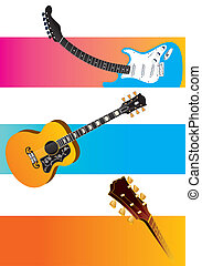 three vector guitar banners - A handsome set of three vector...