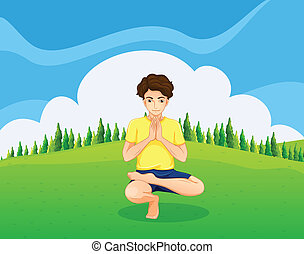 A handsome young boy doing yoga in the hill