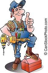 A handyman - Vector cartoon illustration of a handyman