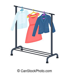 A hanger with things in the wardrobe.Making movie single...