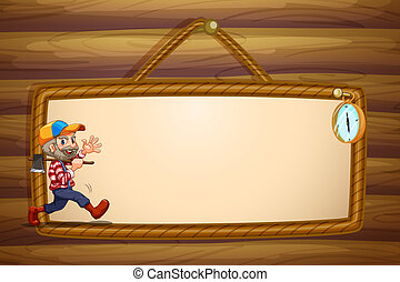 A hanging empty template with a smiling lumberjack -...