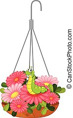 A hanging pot with plants and a worm