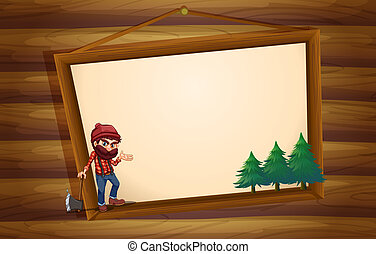 A hanging wooden frame with a woodman - Illustration of a...