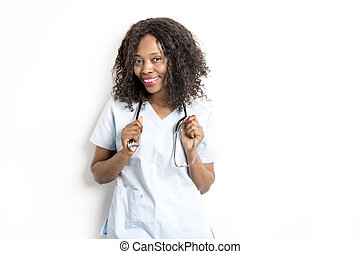 happy african medical intern doctor on studio white