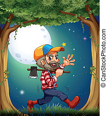 A happy and hardworking woodman walking at the forest