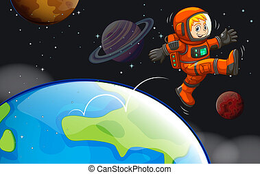 A happy astronaut in the sky