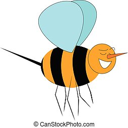 A happy bee flying in the sky vector or color illustration