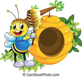 A happy bee playing with the honey near the beehive -...